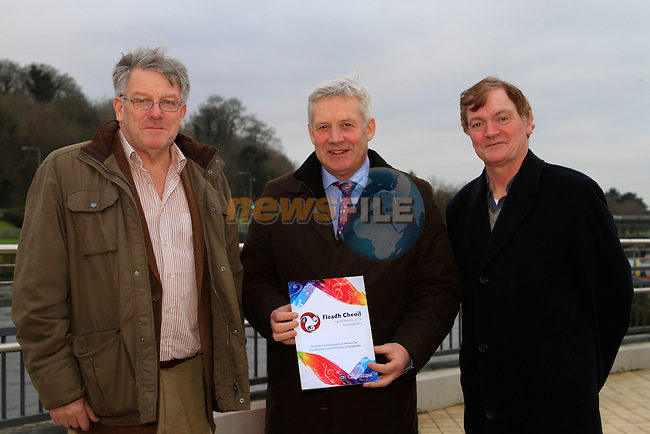 Tom Bourke, Fleadh Cheoil na hÉireannwith Minister Fergus O'Dowd and Fr.Iggy at the walking tour of Drogheda...Photo NEWSFILE/Jenny Matthews..(Photo credit should read Jenny Matthews/NEWSFILE)