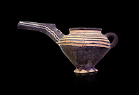 "Minoan Vasiliki Ware long spouted ""teapots"", Vasiliki 2300-1900 BC BC, Heraklion Archaeological  Museum, black background."