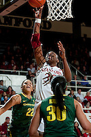 STANFORD, CA-JANUARY 5, 2012 - Nnemkadi Ogwumike makes two during PAC-12 conference play against the University of Oregon.