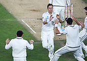 25th March 2018, Auckland, New Zealand;  New Zealand bowler Trent Boult celebrates the wicket of England captain Joe Root.<br /> New Zealand versus England. 1st day-night test match. Eden Park, Auckland, New Zealand. Day 4