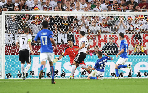 02.07.2016. Bordeaux, France. 2016 European football championships. Quarterfinals match. Germany versus Italy.  Mesut Oezil scores the opening goal for 1-0 against Gianluigi Buffon ITA