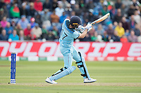 Liam Plunkett (England) drives to long off during England vs Bangladesh, ICC World Cup Cricket at Sophia Gardens Cardiff on 8th June 2019