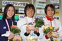 (L to R) .Mika Ikeda, .Shiho Sakai, .Ema Kobayashi, .FEBRUARY 11, 2012 - Swimming : .The 53rd Japan Swimming Championships (25m) .Women's 50m Backstroke Victory Ceremony .at Tatsumi International Swimming Pool, Tokyo, Japan. .(Photo by YUTAKA/AFLO SPORT) [1040]