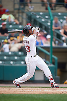 Rochester Red Wings center fielder Byron Buxton (53) at bat during a game against the Indianapolis Indians on May 26, 2016 at Frontier Field in Rochester, New York.  Indianapolis defeated Rochester 5-2.  (Mike Janes/Four Seam Images)