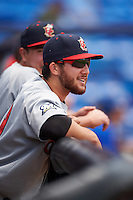 Brevard County Manatees pitcher Bubba Derby (19) in the dugout during a game against the St. Lucie Mets on April 17, 2016 at Tradition Field in Port St. Lucie, Florida.  Brevard County defeated St. Lucie 13-0.  (Mike Janes/Four Seam Images)