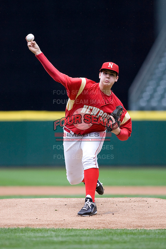 Newport High School pitcher Jared Fisher #27 delivers a pitch against Puyallup High School during at game at Safeco Field on April 2, 2011 in Seattle, Washington.  Photo by Ronnie Allen / Four Seam Images.