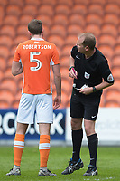 Referee Mark Brown looks at Blackpool's Clark Robertson back prior to booking him<br /> <br /> Photographer Terry Donnelly/CameraSport<br /> <br /> The EFL Sky Bet League Two - Blackpool v Accrington Stanley - Friday 14th April 2017 - Bloomfield Road - Blackpool<br /> <br /> World Copyright &copy; 2017 CameraSport. All rights reserved. 43 Linden Ave. Countesthorpe. Leicester. England. LE8 5PG - Tel: +44 (0) 116 277 4147 - admin@camerasport.com - www.camerasport.com