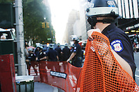 Police use orange nets to corral crowds of protesters at the New York Public Library in New York City on August 31, 2004 during the Republican National Convention.  The library steps were a meeting point for a group calling itself the A31 Action Coalition which called for civil disobedience on a mass scale that day.  The library steps quickly cleared as police began arresting people, sometimes indiscriminately.