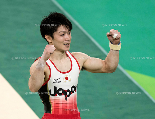 Kohei Uchimura (JPN),<br /> AUGUST 8, 2016 - Artistic Gymnastics :<br /> Kohei Uchimura of Japan celebrates after performing on the floor in the Men's Team Final at Rio Olympic Arena during the Rio 2016 Olympic Games in Rio de Janeiro, Brazil. (Photo by Enrico Calderoni/AFLO SPORT)