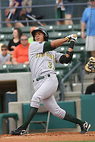 Efrain Contreras #33 of the Lynchburg Hillcats at bat during a game against the Myrtle Beach Pelicans at BB&T Coastal Field on May 26, 2010 in Myrtle Beach. Photo by Robert Gurganus/Four Seam Images.