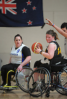 Action from the 2013 Wheelchair Basketball National Championships match between Wellington Gold and Otago Panthers at ASB Sports Centre, Kilbirnie, Wellington, New Zealand on Saturday, 21 September 2012. Photo: Dave Lintott / lintottphoto.co.nz