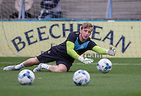Alex Lynch of Wycombe Wanderers during warm up pre match during the Capital One Cup match between Wycombe Wanderers and Fulham at Adams Park, High Wycombe, England on 11 August 2015. Photo by Andy Rowland.