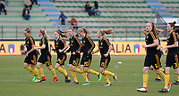 20180410 - FERRARA , ITALY : Belgian team pictured during warming up ahead of the female soccer game between Italy and the Belgian Red Flames , the fifth game in the qualificaton for the World Championship qualification round in group 6 for France 2019, Tuesday 10 th April 2018 at Stadio Paolo Mazza / Stadio Comunale in Ferrara , Italy . PHOTO SPORTPIX.BE | DAVID CATRY