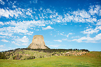 Devils Tower National Monument rises above the Belle Fourche River in western Wyoming.