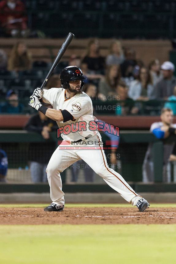 Scottsdale Scorpions catcher Matt Winn (16), of the San Francisco Giants organization, at bat during an Arizona Fall League game against the Surprise Saguaros at Scottsdale Stadium on October 15, 2018 in Scottsdale, Arizona. Surprise defeated Scottsdale 2-0. (Zachary Lucy/Four Seam Images)