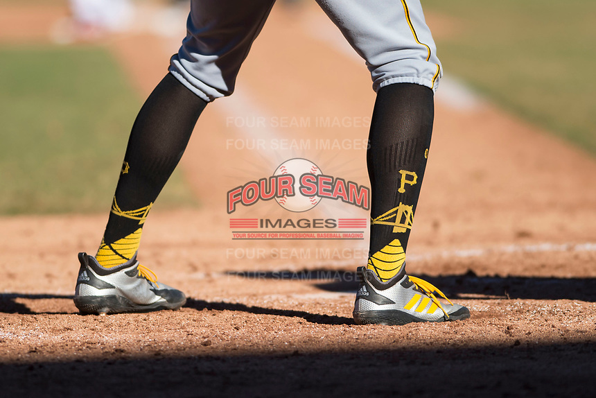 Surprise Saguaros shortstop Cole Tucker (2), of the Pittsburgh Pirates organization, wears MLB On Field Performance Baseball socks by Stance during an Arizona Fall League game against the Mesa Solar Sox at Sloan Park on November 1, 2018 in Mesa, Arizona. Surprise defeated Mesa 5-4 . (Zachary Lucy/Four Seam Images)
