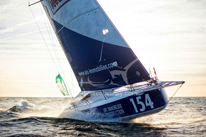 The Lift 40 ( Class 40 ) Black Mamba for the skipper Yoann Richomme training for the Route du Rhum Destination Guadeloupe 2018.<br />The Lift 40 was built at Gepeto Composite and designed by Marc Lombard Yacht Design Group, Lorient Keroman Submarine Base, Brittany, France.