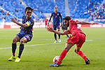 Sami Mohamed Alhusaini of Bahrain (R) fights for the ball with Teerasil Dangda of Thailand (L) during the AFC Asian Cup UAE 2019 Group A match between Bahrain (BHR) and Thailand (THA) at Al Maktoum Stadium on 10 January 2019 in Dubai, United Arab Emirates. Photo by Marcio Rodrigo Machado / Power Sport Images