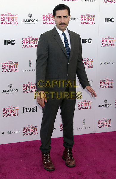 Jason Schwartzman.2013 Film Independent Spirit Awards - Arrivals Held At Santa Monica Beach, Santa Monica, California, USA,.23rd February 2013..indy indie indies indys full length grey gray white blue brown boots shoes moustache mustache facial hair suit shirt .CAP/ADM/RE.©Russ Elliot/AdMedia/Capital Pictures