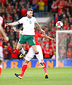 9th October 2017, Cardiff City Stadium, Cardiff, Wales; FIFA World Cup Qualification, Wales versus Republic of Ireland; Daryl Murphy (Republic of Ireland) chests the ball under pressure from Ashley Williams (Wales)