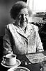 Portrait of an elderly woman playing bingo at Edwards Lane Community Centre, Nottingham, UK, 1989
