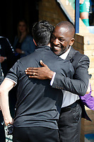 Southend United manager, Chris Powell greets MK Dons manager, Dan Micciche during the Sky Bet League 1 match between Southend United and MK Dons at Roots Hall, Southend, England on 21 April 2018. Photo by Carlton Myrie.