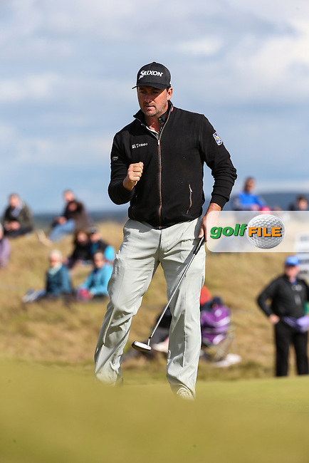 Graeme McDowell (NIR) sinks another birdie on the 13th during Round Two of the 2016 Aberdeen Asset Management Scottish Open, played at Castle Stuart Golf Club, Inverness, Scotland. 08/07/2016. Picture: David Lloyd | Golffile.<br /> <br /> All photos usage must carry mandatory copyright credit (&copy; Golffile | David Lloyd)