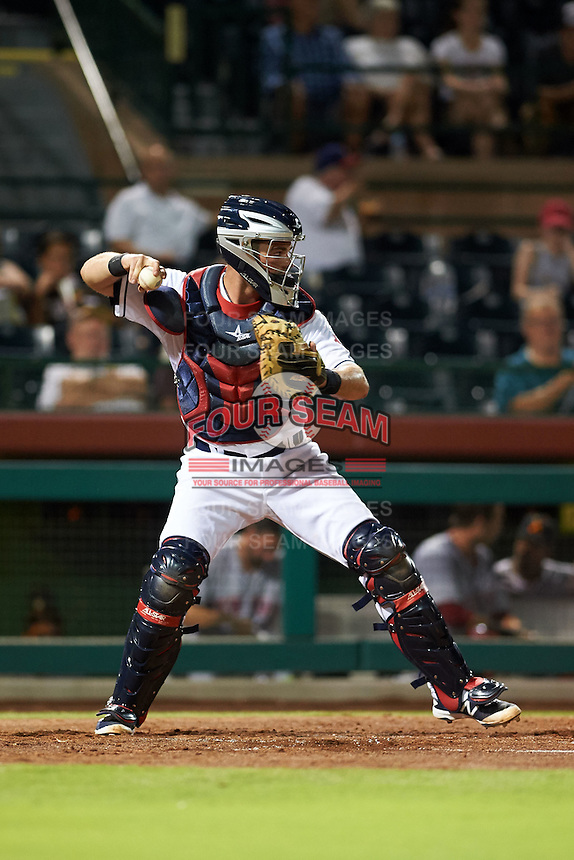 Scottsdale Scorpions catcher Jeremy Lucas (8) during an Arizona Fall League game against the Salt River Rafters on October 14, 2015 at Scottsdale Stadium in Scottsdale, Arizona.  Scottsdale defeated Salt River 13-3.  (Mike Janes/Four Seam Images)