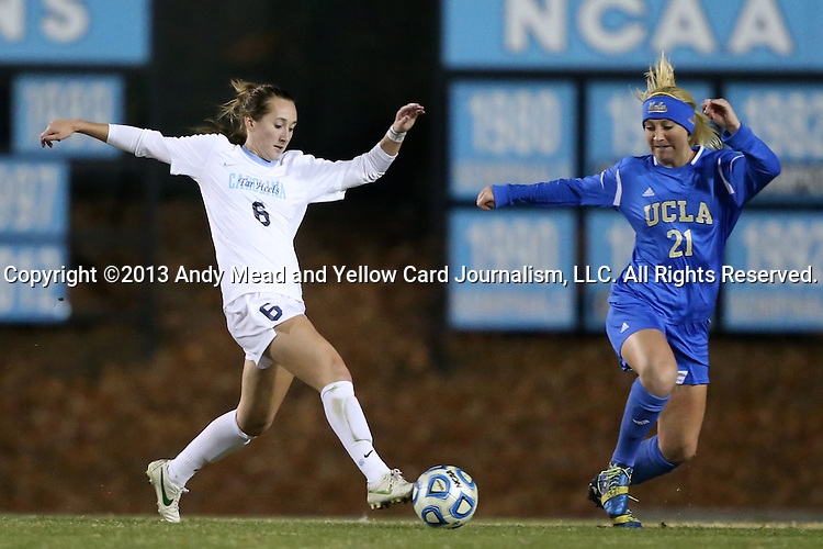 30 November 2013: North Carolina's Summer Green (6) and UCLA's Megan Oyster (21). The University of North Carolina Tar Heels played the University of California Los Angeles Bruins at Fetzer Field in Chapel Hill, North Carolina in a 2013 NCAA Division I Women's Soccer Tournament Quarterfinal match. UCLA won the game 1-0 in two overtimes.