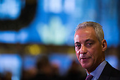 Mayor Rahm Emanuel (Democrat of Chicago) speaks to members of the media at Trump Tower in Manhattan, New York, New York, USA on Wednesday, December 7, 2016. <br /> Credit: John Taggart / Pool via CNP