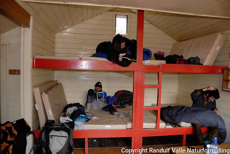 Interiør fra turisthytte på New Zealand ---- Interior from New Zealand tramping hut