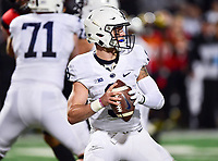 College Park, MD - NOV 25, 2017: Penn State Nittany Lions quarterback Trace McSorley (9) in the pocket during game between Maryland and Penn State at Capital One Field at Maryland Stadium in College Park, MD. (Photo by Phil Peters/Media Images International)