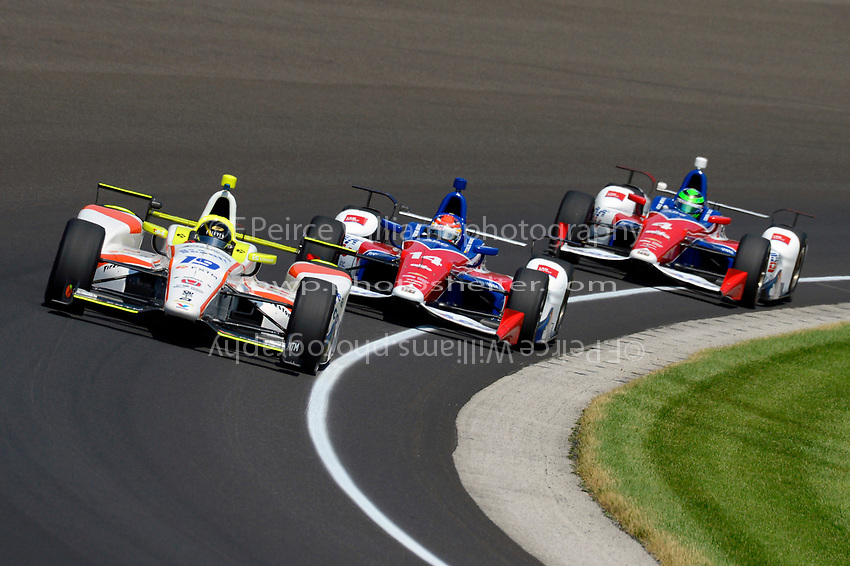 Verizon IndyCar Series<br /> Indianapolis 500 Carb Day<br /> Indianapolis Motor Speedway, Indianapolis, IN USA<br /> Friday 26 May 2017<br /> Ed Jones, Dale Coyne Racing Honda, Carlos Munoz, A.J. Foyt Enterprises Chevrolet, Conor Daly, A.J. Foyt Enterprises Chevrolet<br /> World Copyright: F. Peirce Williams