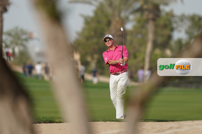 Miguel Angel Jimenez (ESP) in action during the second round of the Omega Dubai Desert Classic, Emirates Golf Club, Dubai, UAE. 25/01/2019<br /> Picture: Golffile | Phil Inglis<br /> <br /> <br /> All photo usage must carry mandatory copyright credit (&copy; Golffile | Phil Inglis)