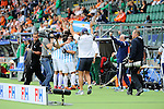 The Hague, Netherlands, June 15: Head coach Carlos Retegui of Argentina celebrates after winning the field hockey bronze match (Men) between Argentina and England on June 15, 2014 during the World Cup 2014 at Kyocera Stadium in The Hague, Netherlands. Final score 2-0 (0-0)  (Photo by Dirk Markgraf / www.265-images.com) *** Local caption ***