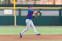 AZL Rangers second baseman Kenen Irizarry (19) throws to first base during an Arizona League game against the AZL Giants Black at Scottsdale Stadium on August 4, 2018 in Scottsdale, Arizona. The AZL Giants Black defeated the AZL Rangers by a score of 6-3 in the second game of a doubleheader. (Zachary Lucy/Four Seam Images)