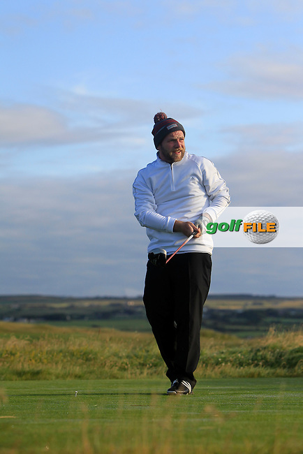 Michael Reid (Galgorm Castle) on the 2nd tee during Matchplay Round 1 of the South of Ireland Amateur Open Championship at LaHinch Golf Club on Friday 24th July 2015.<br /> Picture:  Golffile | Thos Caffrey
