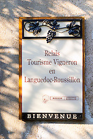 Relais Tourisme Vigneron en Languedoc Roussillon, touristic visiting place with vineyards. Chateau Mire l'Etang. La Clape. Languedoc. France. Europe.