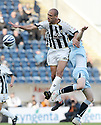 17/10/2009  Copyright  Pic : James Stewart.sct_jspa04_falkirk_v_st_mirren  . :: BILLY MEHMET GOES UP WITH DARREN BARR :: .James Stewart Photography 19 Carronlea Drive, Falkirk. FK2 8DN      Vat Reg No. 607 6932 25.Telephone      : +44 (0)1324 570291 .Mobile              : +44 (0)7721 416997.E-mail  :  jim@jspa.co.uk.If you require further information then contact Jim Stewart on any of the numbers above.........