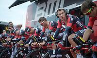 Philippe Gilbert (BEL/BMC) warming up for the TTT<br /> <br /> 2015 Giro<br /> startzone of stage 1: San Lorenzo Al Mare - San remo (TTT/17.6km)