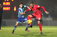 Scott Kashket of Wycombe Wanderers and Paul McCallum of Leyton Orient (10) during the Sky Bet League 2 match between Wycombe Wanderers and Leyton Orient at Adams Park, High Wycombe, England on 17 December 2016. Photo by David Horn / PRiME Media Images.