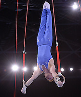Scotland's Daniel Purvis performs his gymnastic artistic men's rings final routine which won him a silver medal<br /> <br /> Photographer Chris Vaughan/CameraSport<br /> <br /> 20th Commonwealth Games - Day 8 - Thursday 31st July 2014 - Gymnastics - The SSE Hydro - Glasgow - UK<br /> <br /> © CameraSport - 43 Linden Ave. Countesthorpe. Leicester. England. LE8 5PG - Tel: +44 (0) 116 277 4147 - admin@camerasport.com - www.camerasport.com