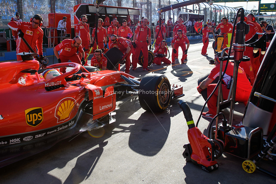 March 23, 2018: Sebastian Vettel (DEU) #5 from the Scuderia Ferrari team practising a pit stop during practice session two at the 2018 Australian Formula One Grand Prix at Albert Park, Melbourne, Australia. Photo Sydney Low