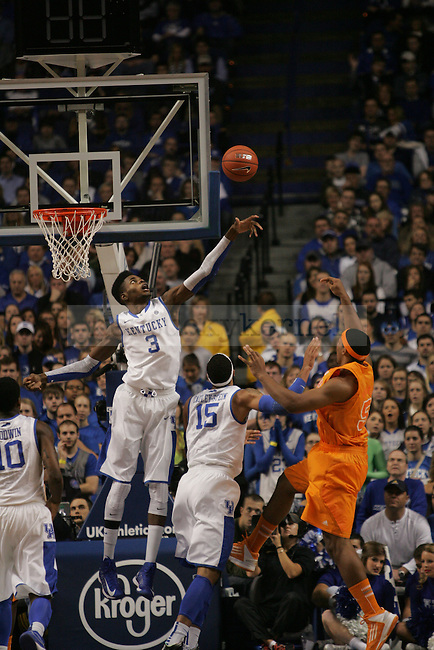 Freshman Forward Nerlens Noel (3) attempts to block Sophomore Forward Jarnell Stokes' (5) shot during the University of Kentucky vs Tennessee Men's Basketball game in Lexington, Ky., on, January 15, 2013. Photo by Jared Glover | Staff