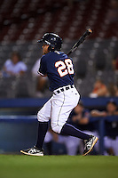 Connecticut Tigers third baseman Jose Zambrano (28) at bat during the second game of a doubleheader against the Brooklyn Cyclones on September 2, 2015 at Senator Thomas J. Dodd Memorial Stadium in Norwich, Connecticut.  Connecticut defeated Brooklyn 2-1.  (Mike Janes/Four Seam Images)