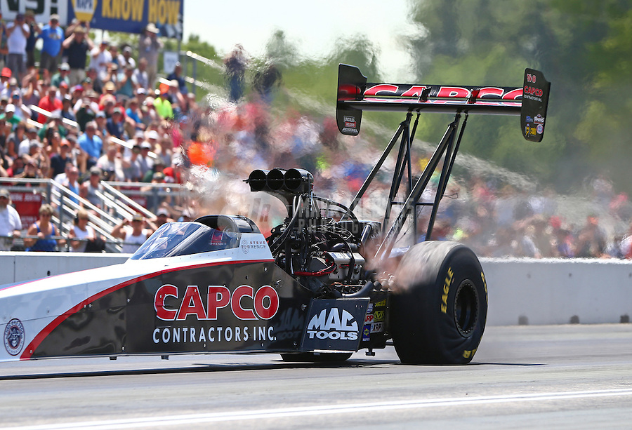 Jun 6, 2016; Epping , NH, USA; NHRA top fuel driver Steve Torrence during the New England Nationals at New England Dragway. Mandatory Credit: Mark J. Rebilas-USA TODAY Sports