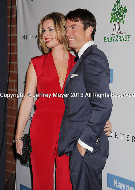 CULVER CITY, CA- NOVEMBER 09: Actress/model Rebecca Romijn (L) and actor/husband Jerry O'Connell  arrive at the 2nd Annual Baby2Baby Gala at The Book Bindery on November 9, 2013 in Culver City, California.