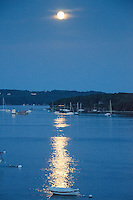 Moonrise over Castine Harbor, Castine, Maine, US