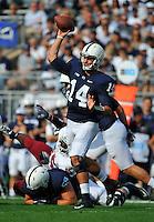 20 September 2014:  Penn State QB Christian Hackenberg (14) throws. The Penn State Nittany Lions vs. the University of Massachusetts Minutemen at Beaver Stadium in State College, PA.