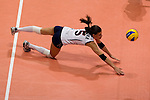 22 August 2010, Hong Kong, China ---  Stacy Sykora of the USA dives to save a ball against China during their volleyball game on the last day of the FIVB World Grand Prix Pool G at the Hong Kong Coliseum stadium. Photo by Victor Fraile --- Image by © Victor Fraile